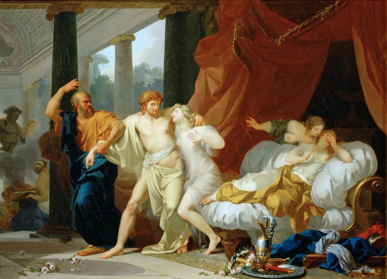 Socrate arrachant Alcibiade des bras de la Volupté, Régnault