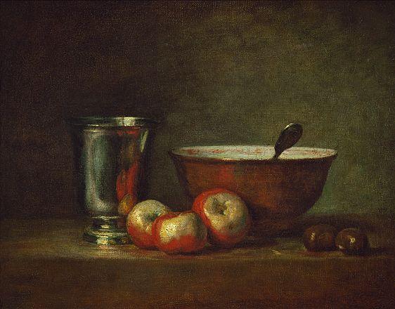 Trois pommes d'api, deux châtaignes, une écuelle et un gobelet d'argent, Chardin