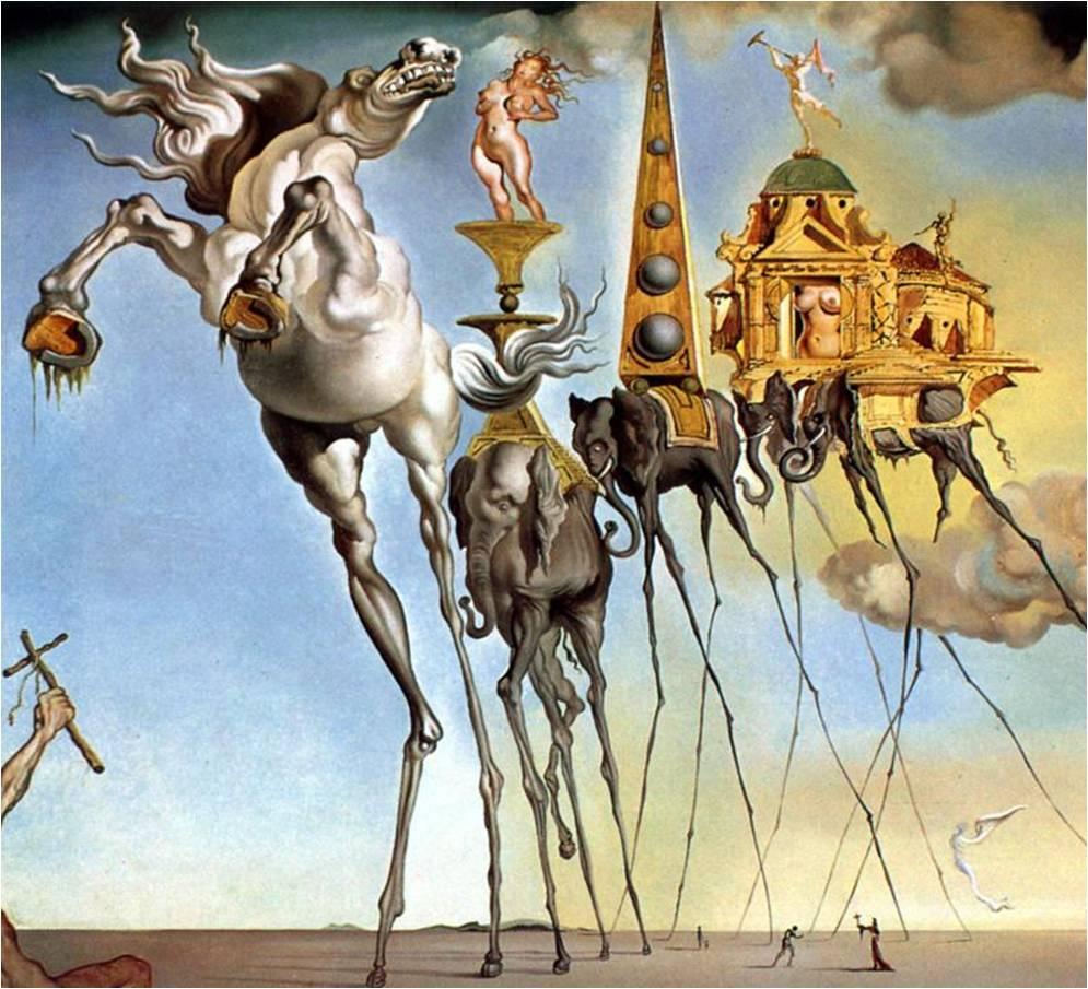 tentation saint antoine dali cheval éléphant