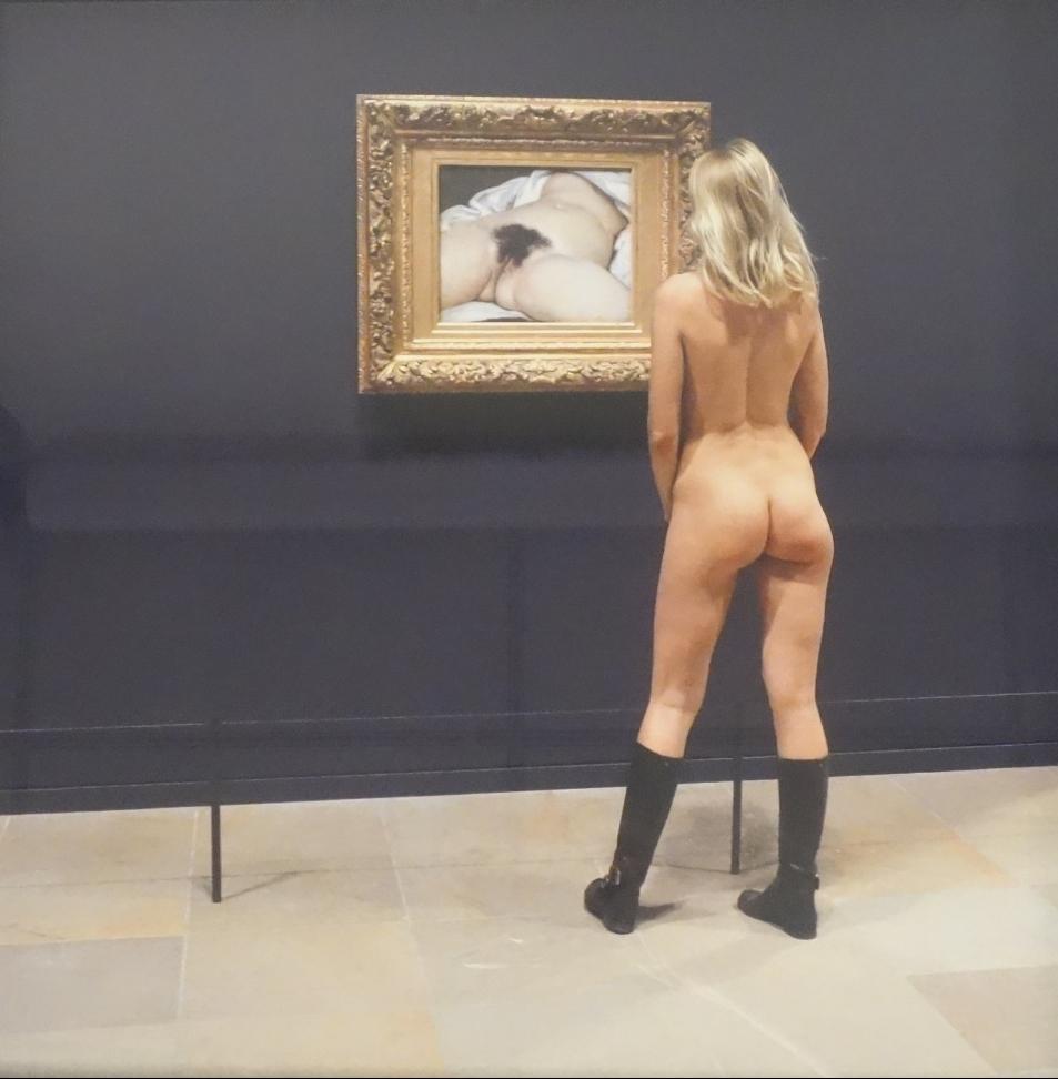 Nu visitant une exposition, l'Origine du monde de Gustave Courbet de Robert Schwarz