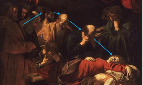 La Mort de la Vierge Caravage Composition